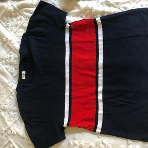 Navy, white and red t-shirt